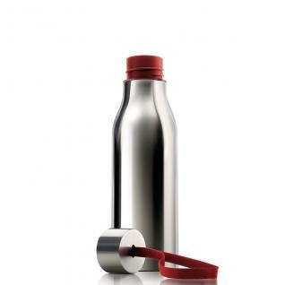 Thermosflasche 0, 5L Edelstahl hochglanz grau Schlaufe rot - Vorschau 2