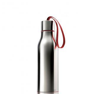 Thermosflasche 0, 5L Edelstahl hochglanz grau Schlaufe rot
