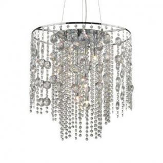 Pendelleuchte Metall chrom, Kristall transparent, modern
