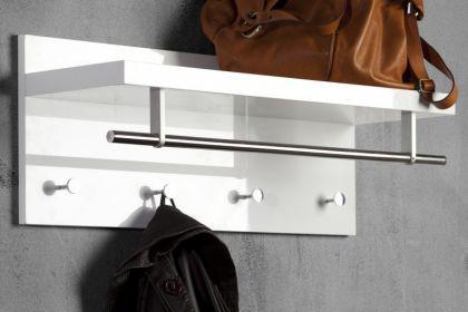 Wandgarderobe, Garderobe mit vier Haken und eine Stange, Breite 75 cm