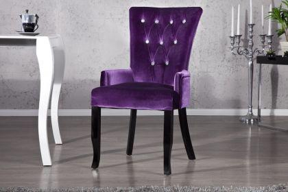 Stuhl Landhaus Style Samtstoff lila mit Strasssteinen - Vorschau 1