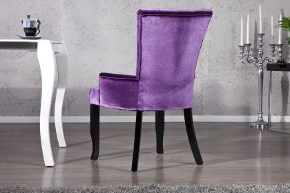 Stuhl Landhaus Style Samtstoff lila mit Strasssteinen - Vorschau 3