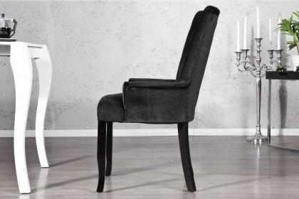 Stuhl gepolstert, Stuhl im Landhausstil, schwarzer Samtstoff mit Strasssteinen - Vorschau 2
