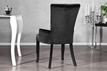Stuhl gepolstert, Stuhl im Landhausstil, schwarzer Samtstoff mit Strasssteinen - Vorschau 3