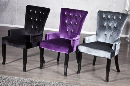 Stuhl gepolstert mit Armlehne, Stuhl im Landhausstil, grauer Samtstoff mit Strasssteinen - Vorschau 5
