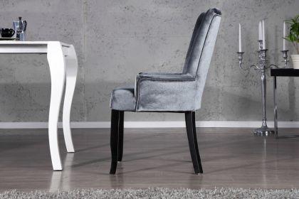 Stuhl gepolstert mit Armlehne, Stuhl im Landhausstil, grauer Samtstoff mit Strasssteinen - Vorschau 2