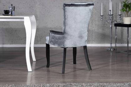 Stuhl gepolstert mit Armlehne, Stuhl im Landhausstil, grauer Samtstoff mit Strasssteinen - Vorschau 3