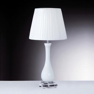 Tischleuchte Glas weiß transparent, Metall chrom