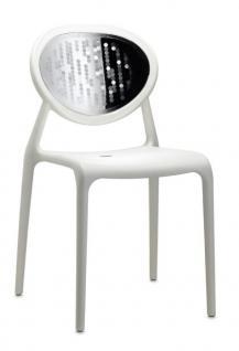 Design Stuhl Kunststoff Glasfaser Chrom leinen