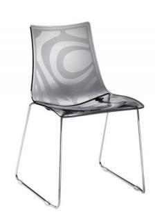 Design Stuhl, Kunststoff, verchromt, Sitzhöhe 45 cm