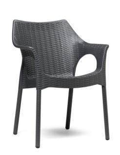 Design Stuhl, Kunststoff, Anthrazit, Sitzhöhe 45 cm