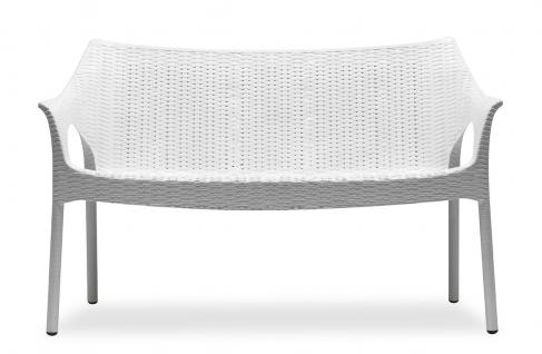 Design Bank, Kunststoff, Leinen, Sitzhöhe 45 cm