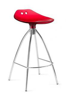 Design Bar-Tresenhocker, Stahl, Chrom, Rot - Vorschau 1