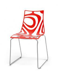 design stuhl kunststoff chrom rot sitzh he 45 cm kaufen bei richhomeshop. Black Bedroom Furniture Sets. Home Design Ideas