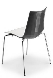 Design Stuhl, Kunststoff, verchromt, Sitzhöhe 48 cm