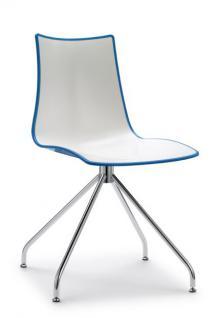 Design Stuhl, Kunststoff, verchromt, Sitzhöhe 46 cm
