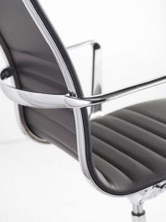 Designer Chefsessel mit Echtleder bezogen, Farbe schwarz - Vorschau 4