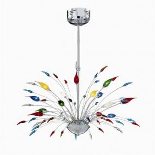 Pendelleuchte Metall chrom, Glas bunt, modern