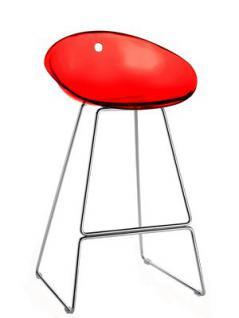 Design Barhocker Farbe rot transparent, 65 cm Sitzhöhe
