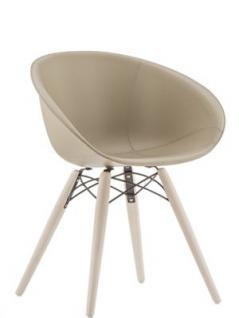 Design Stuhl gepolstert mit Holzbeinen und Sitzschale mit Echtleder bezogen