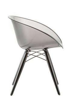 Design Stuhl mit Holzbeinen und Kunststoff Sitzschale - Vorschau 2