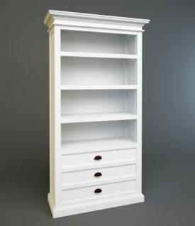 Bücherschrank im Landhaustil, drei Schubladen und drei Einlageböden in weiß - Vorschau 2