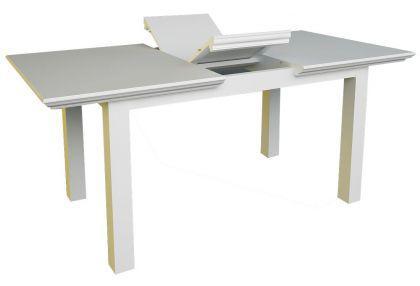 Ausziebarer Esstisch 160-200 cm, Tisch aus Massivholz in weiss im Landhausstil