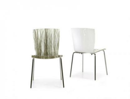 Design Stuhl aus Acryl mit eingelassenem Schilfgras / Sumpfgras