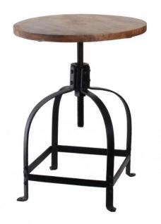 Barhocker aus Metall und Holz im Industriedesign, Sitzhöhe 42-58 cm