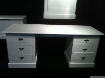 Schreibtisch weiß landhaus  Schreibtisch Hampton im Landhausstil mit sechs Schubladen im weiß ...