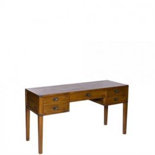 Klassischer Konsole / Schreibtisch aus Eichenholz massiv mit fünf Schubladen, 144 cm Länge