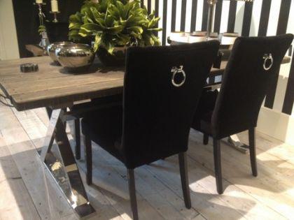 Exklusiver Stuhl im Landhausstil, Farbe schwarz - Vorschau 1
