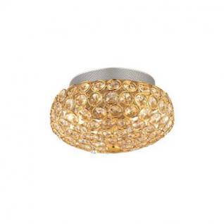 Wand- / Deckenleuchte Metall gold, Kristall transparent, modern
