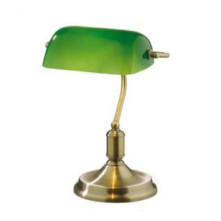 Tischleuchte Bankers Lamp, Metall brüniert, Glas grün