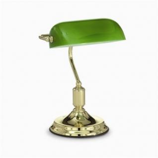 Tischleuchte Bankers Lamp, messing poliert, Glasschirm grün