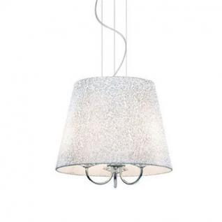 Pendelleuchte Metall chrom Glas transparent Stoff weiß silber modern
