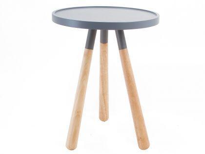 Beistelltisch rund Holz Metall grau