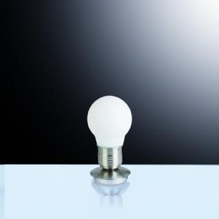 Tischleuchte Metall nickel, Glas weiß, modern