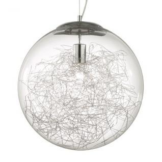 Pendelleuchte Metall chrom, Glas transparent Aludraht