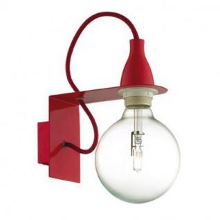 Wandleuchte Metall rot, Halogenlampe, Kabel - Vorschau