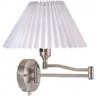 Wandleuchte Metall gebürsteter Stahl Textil weiß schwenkbar - Vorschau 2