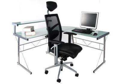 Design Bürotisch mit einer weiß Glasplatte - Vorschau 4