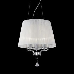 Pendelleuchte Metall chrom, Kristallglas transparent, Organza weiß, höhenverstellbar