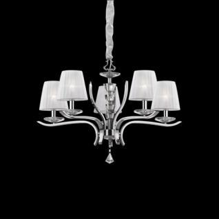 Kronleuchter Metall chrom, Kristallglas transparent, Organza weiß