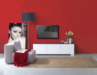Sideboard weiss-schwarz, TV Schrank mit drei Türen, Höhe 45 cm