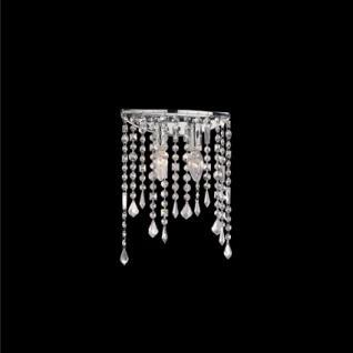 Wandleuchte Kristallhänger transparent, Metall chrom