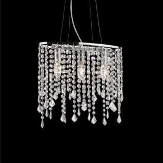 Pendelleuchte Kristallhänger transparent, Metall chrom, höhenverstellbar
