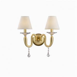 Wandleuchte Metall gold, Harz Goldblatt, Kristall transparent, Stoff weiß