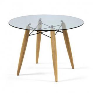 Tisch rund Holz Glastischplatte modern