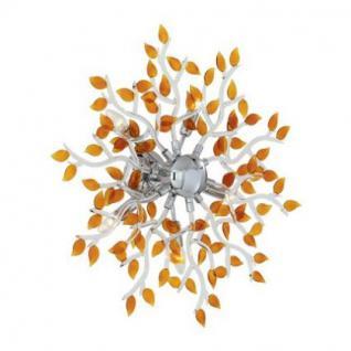 Wand- / Deckenleuchte Metall chrom, Glas braun regenbogenschimmer, modern